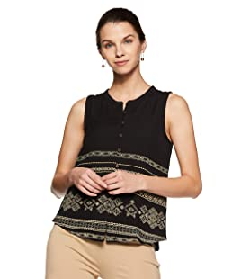 People Women's Regular Fit Top (P1F209518097100_Black_M)