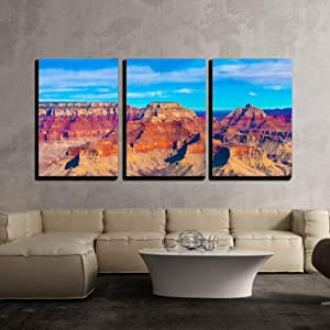 """wall26 - 3 Piece Canvas Wall Art - The Beautiful Landscape of Grand Canyon National Park, Arizona - Modern Home Art Stretched and Framed Ready to Hang - 24""""x36""""x3 Panels"""