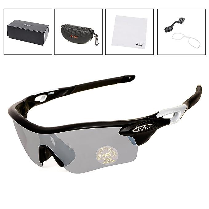 O-LET Gafas de sol deportivas para hombres Mujeres, Bicicletas de ciclismo Running Fishing