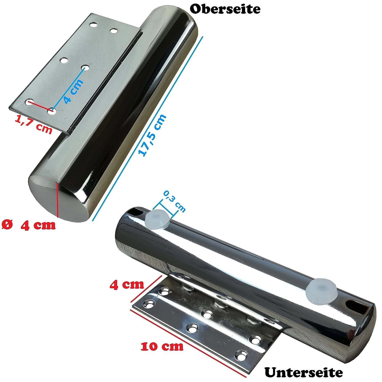 verschiedene Gr/ö/ßen 4x M/öbelf/ü/ße aus Metall Chrom 17,5cm - vielseitig einsetzbare F/ü/ße f/ür M/öbel Sofa Schrank Tisch