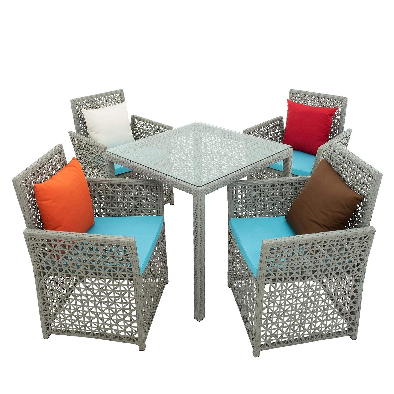 ESTEXO Polyrattan Sitzgruppe Gartenmöbel Set Essgruppe Rattan Sitzgarnitur Möbel Gartenset Lounge Gartenlounge Loungemöbel Tisch Stühle Grau