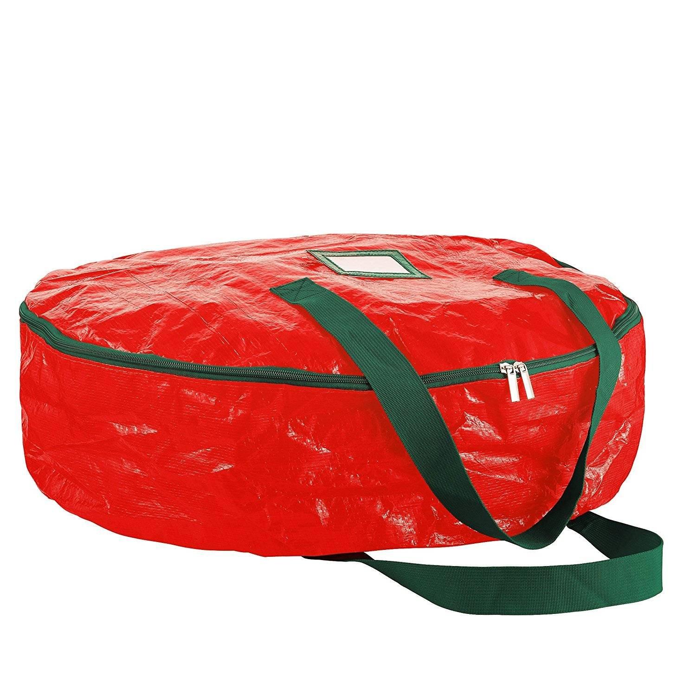 SHUTAO PP Knitted Gift Bag Christmas Gift Storage Bag Tearproof Large Capacity Bag red