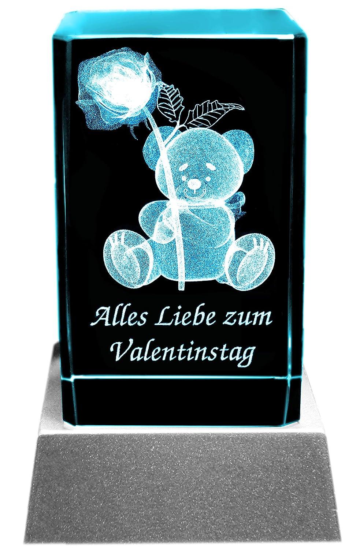 Kaltner Pr/äsente con Orsetto un Regalo Molto Speciale: Candela a LED//Blocco di Cristallo//Incisione a Laser 3D per San Valentino