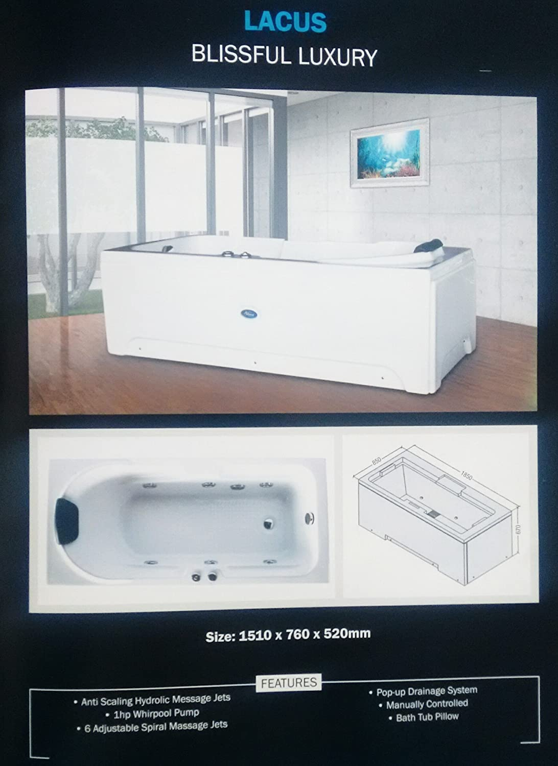 Buy Glorious Jacuzzi Bathtub Size 5 x 2.5 Online at Low Prices in ...