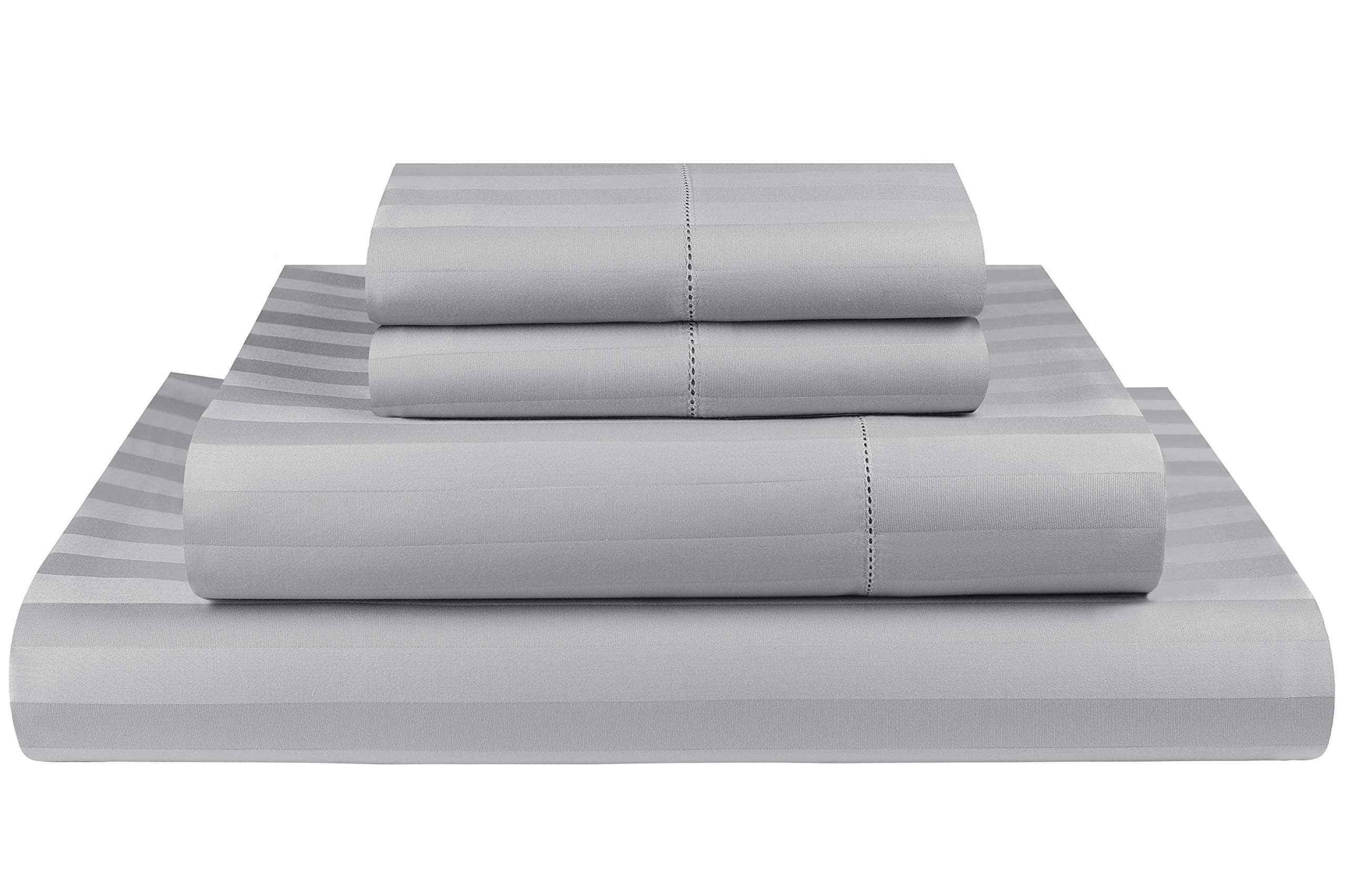 Threadmill Home Linen 500 Thread Count Damask Stripe Cotton Sheets 100% ELS Cotton, Hem Stitch Luxury 4 Piece Bed Sheet Set, Fits Mattresses up to 18 inches deep, Smooth Sateen Weave, Queen, Silver