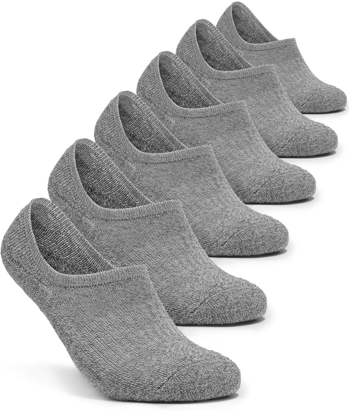 Tesla TM-MZS07-GRY_Medium 6-Pairs Unisex No-Show Casual Fashion Socks w Heel Silicone Grips MZS07
