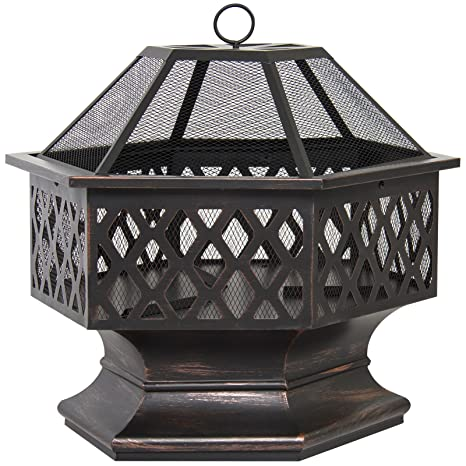 Image Unavailable - Amazon.com : Eight24hours Hex Shaped Fire Pit Outdoor Home Garden