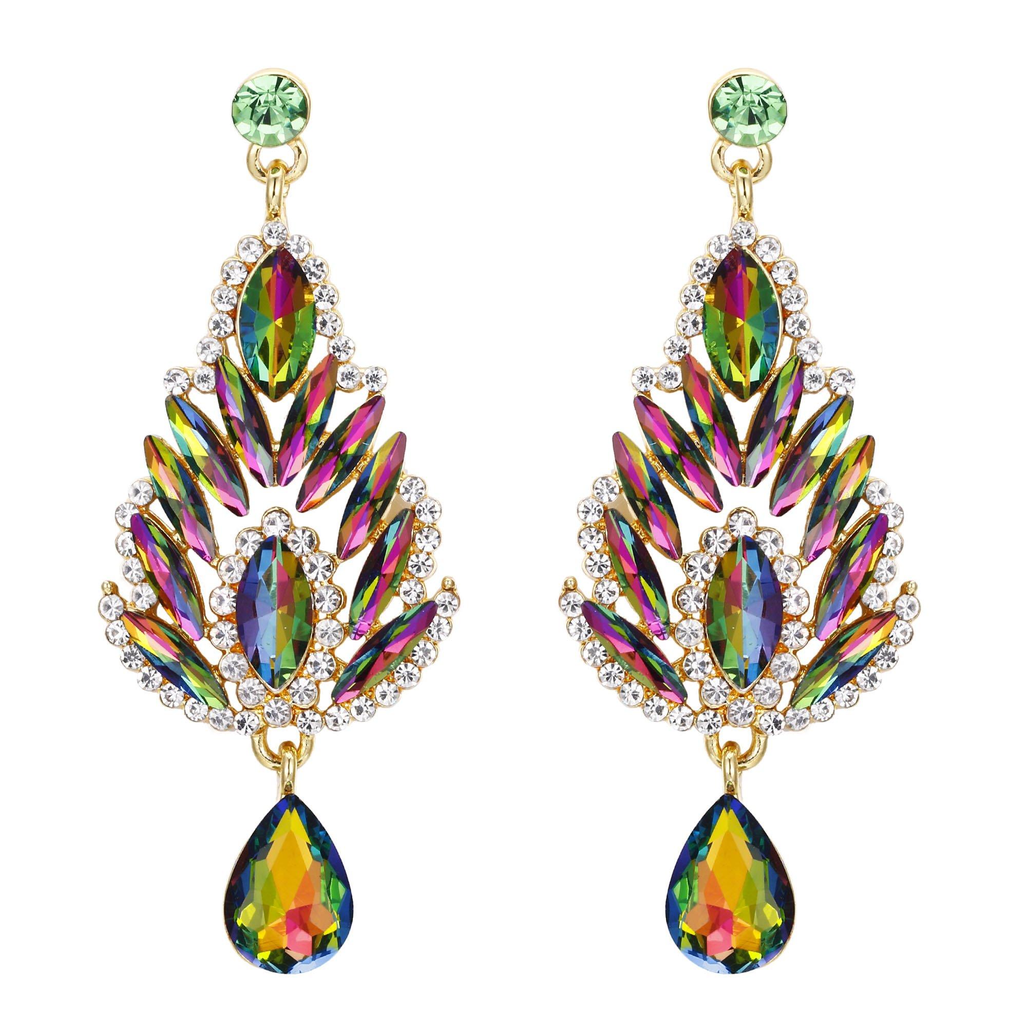 BriLove Women's Bohemian Boho Crystal Bollywood Style Peacock Chandelier Teardrop Dangle Earrings Vitrail Medium Gold-Tone