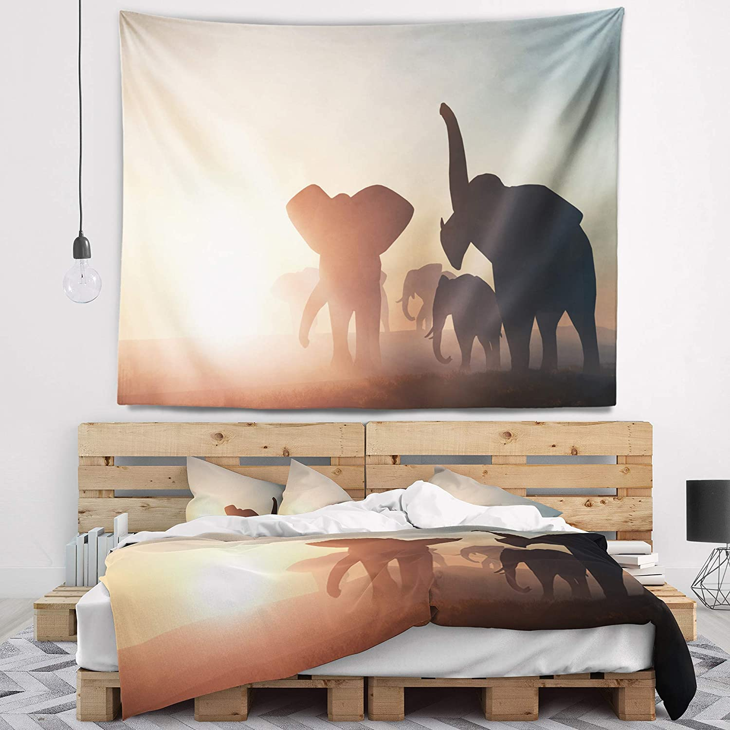 Designart TAP12947-39-32 'Group of Elephants in The Wild' African Blanket Décor Art for Home and Office Wall Tapestry, Medium: 39' x 32', Created on Lightweight Polyester Fabric