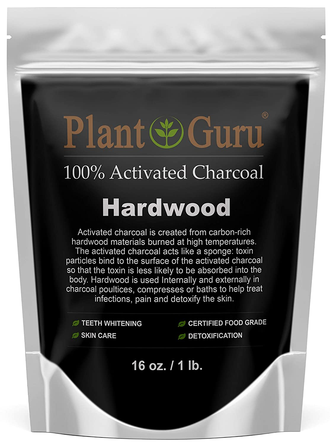 Activated Charcoal Powder 1 lb. HARDWOOD - Food Grade Kosher Non-GMO - Teeth Whitening, Facial Mask and Soap Making. Promotes Natural Detoxification and Helps Digestion