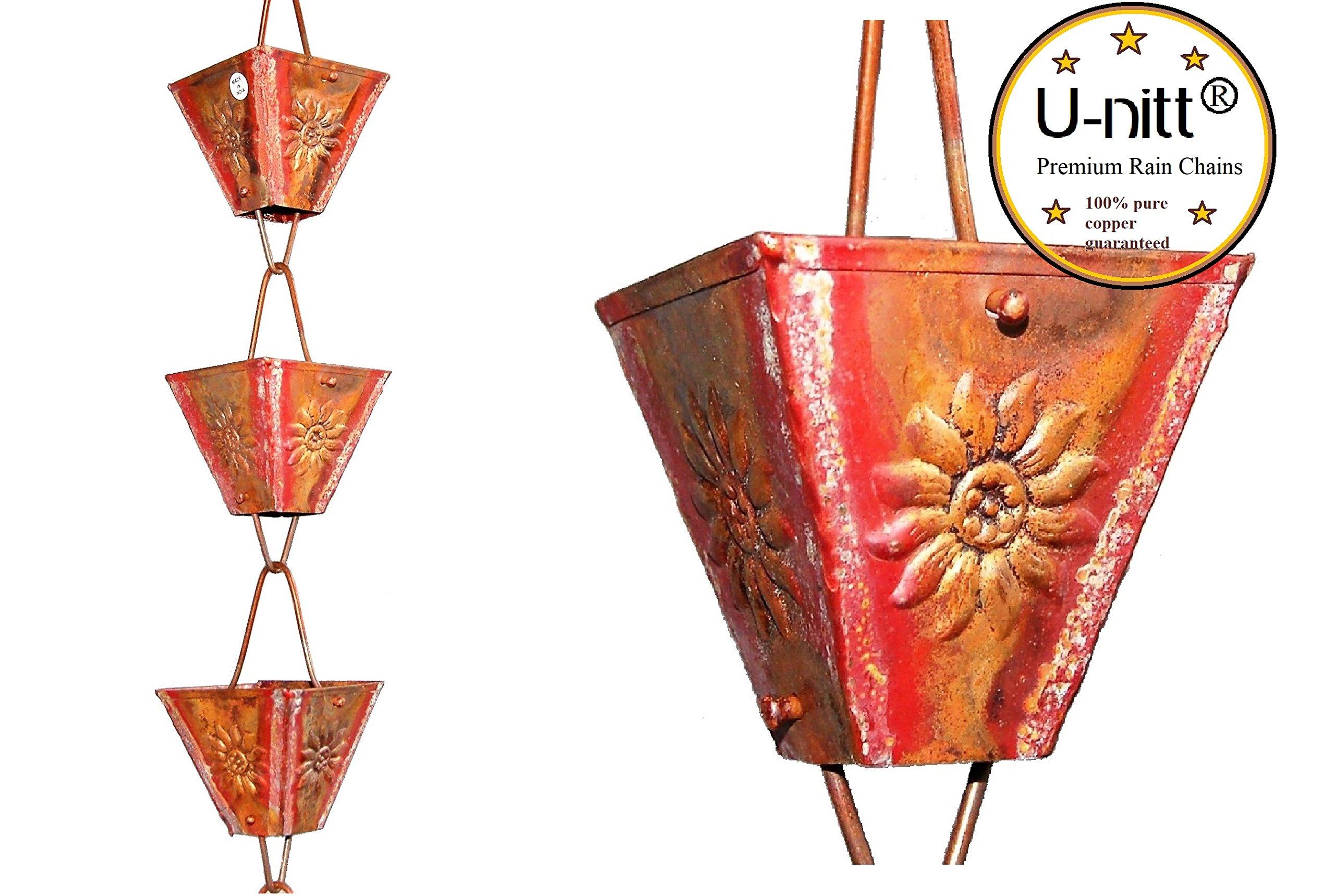 U-nitt 8-1/2 feet Pure Copper Rain Chain: XL Square Cup Plain 8.5 ft Length #3121URL