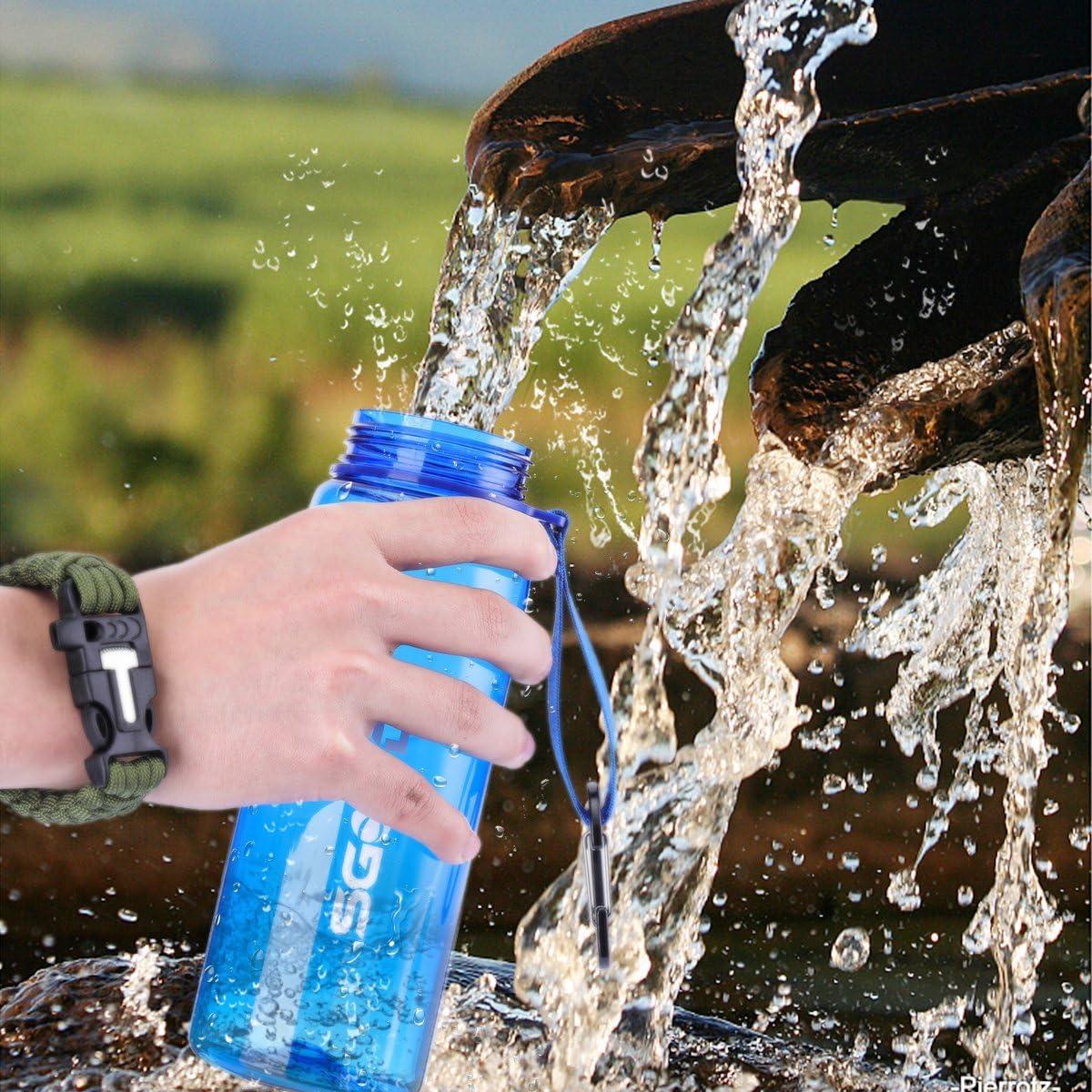 SGODDE Botella de Agua con Filtro, 2 Etapas Filtro Personal Integrado Paja para IR de Excursión Camping y Viajes - Supervivencia o Filtro de Emergencia- Botella de Agua Libre de BPA: Amazon.es: