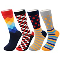 FULIER Mens Cool Colorful Design Comfort Cotton Casual Cushioned Crew Dress Socks