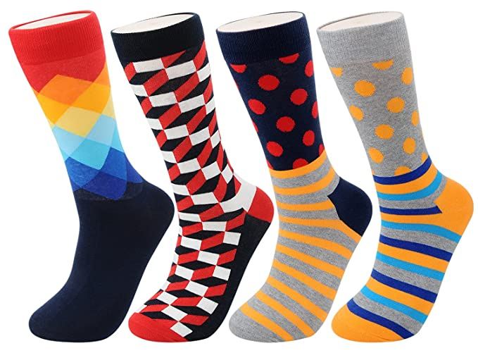 0458d2f365a FULIER Men Fashion Colourful Stripe Dot Grid Pattern Soft Crew Cotton Socks  4 Pairs