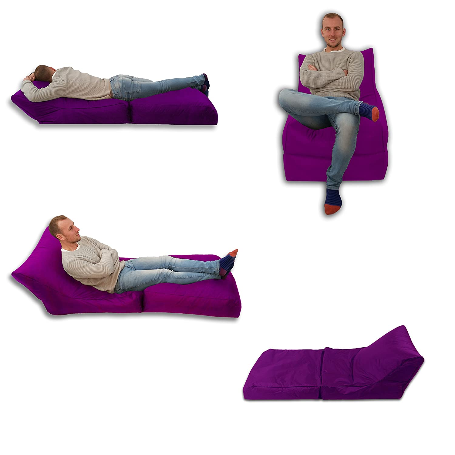 Beanbag Bed Chair Purple Indoor And Outdoor Extra Gaming Seat