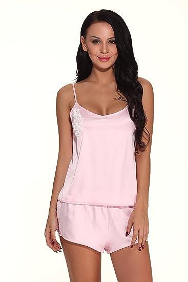 272538d9c1a Xiessi Women s Sexy Sleepwear Satin Pajama Cami Set Silk Camisole Nightwear  (Pink ...