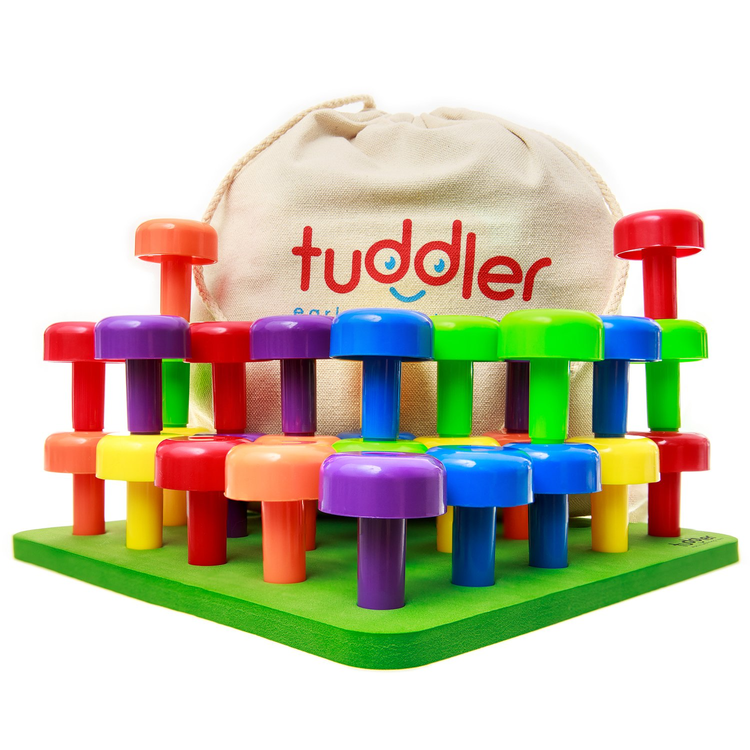Brightly Colored Stackable Pegs and Peg Board Set / Montessori Educational Toy for Toddlers and Kids + Pattern Card + Drawstring Backpack for portability and neat storage + Ebook by Tuddler Review