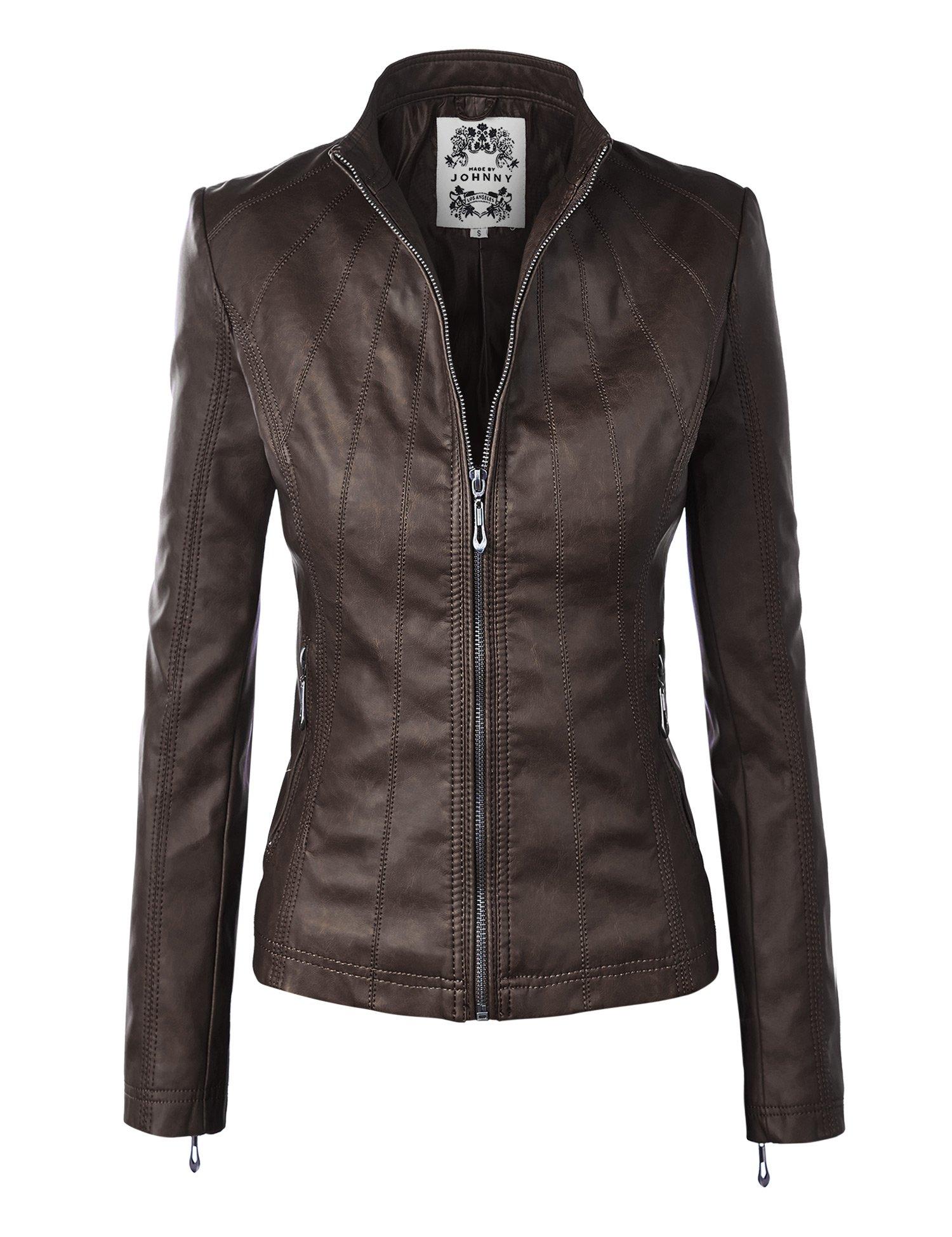 WJC877 Womens Panelled Faux Leather Moto Jacket XXL COFFEE