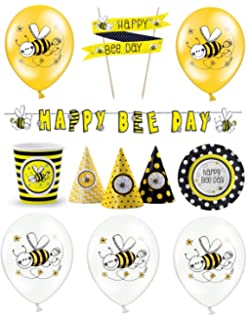 Hochwertig Feste Feiern Deko Maja Motto Party I 25 Teile Luftballon Hüte Teller  Girlande Schwarz Gelb Bunt