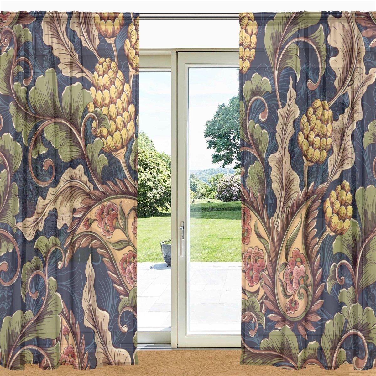 ALAZA Vintage Blumen-Blumenmuster Sheer Fenster und Tür-Vorhang 2 Panels 55