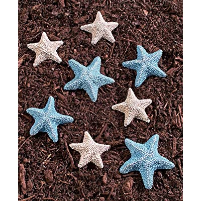 Seaside Starfish Stones for The Garden - Set of 8 Blue & White Ceramic Yard Decorations : Garden & Outdoor