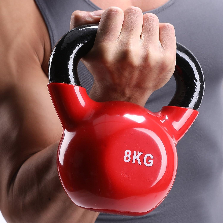 Sfeomi Kettlebell Cast Iron Vinyl Coated Kettlebell for Women//Men Workout