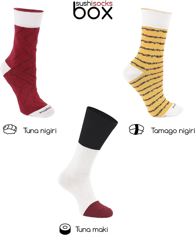 Rainbow Socks Woman Man Sushi Socks Box Tamago Tuna and Maki 3 Pairs