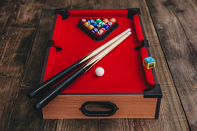 DELUXE MINI TABLE TOP POOL SET CHILDRENS CUE BALLS TOY SNOOKER ...