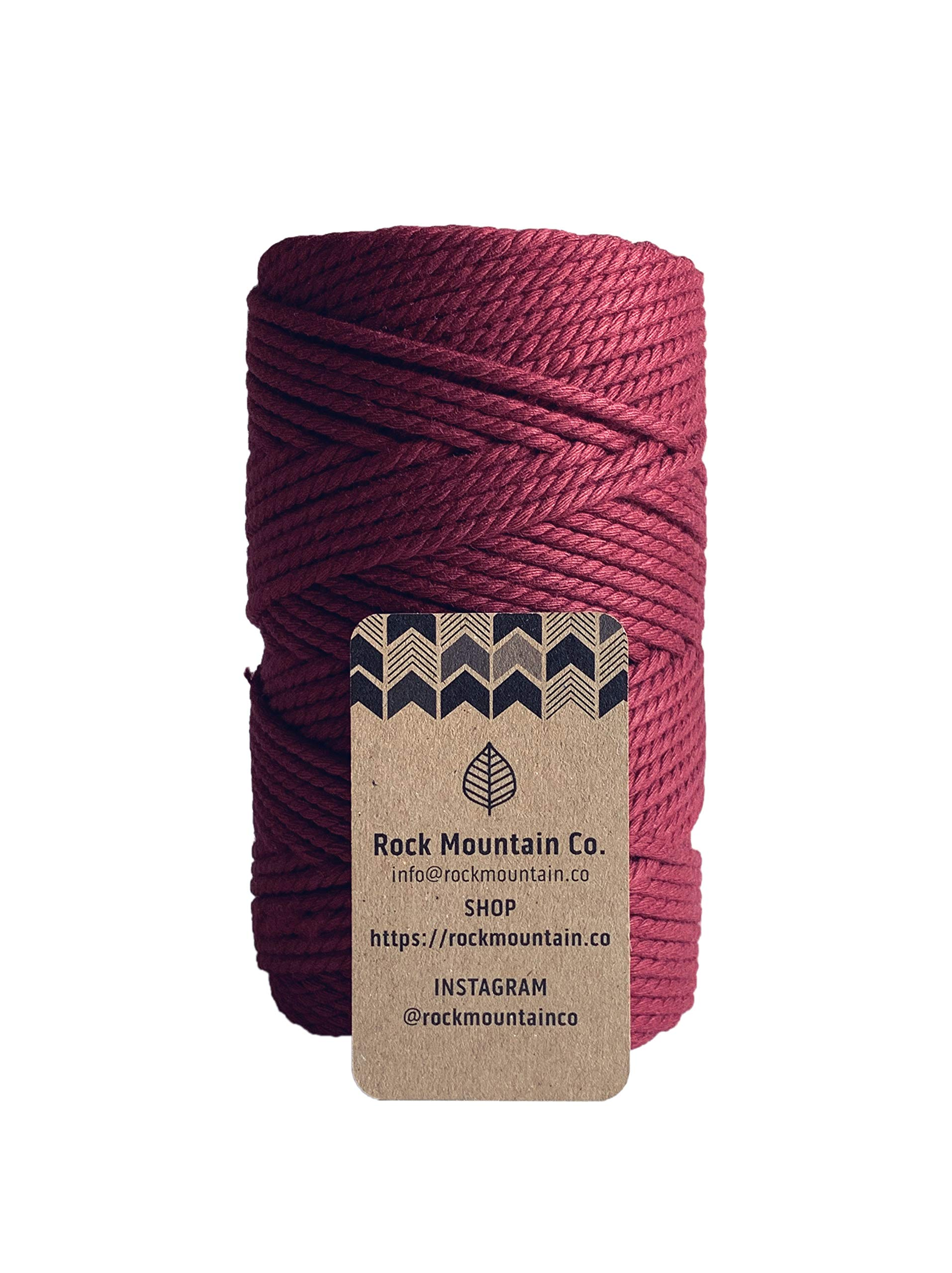 4mm 3 Strand Twisted Macrame Rope - Red Velvet/Burgundy