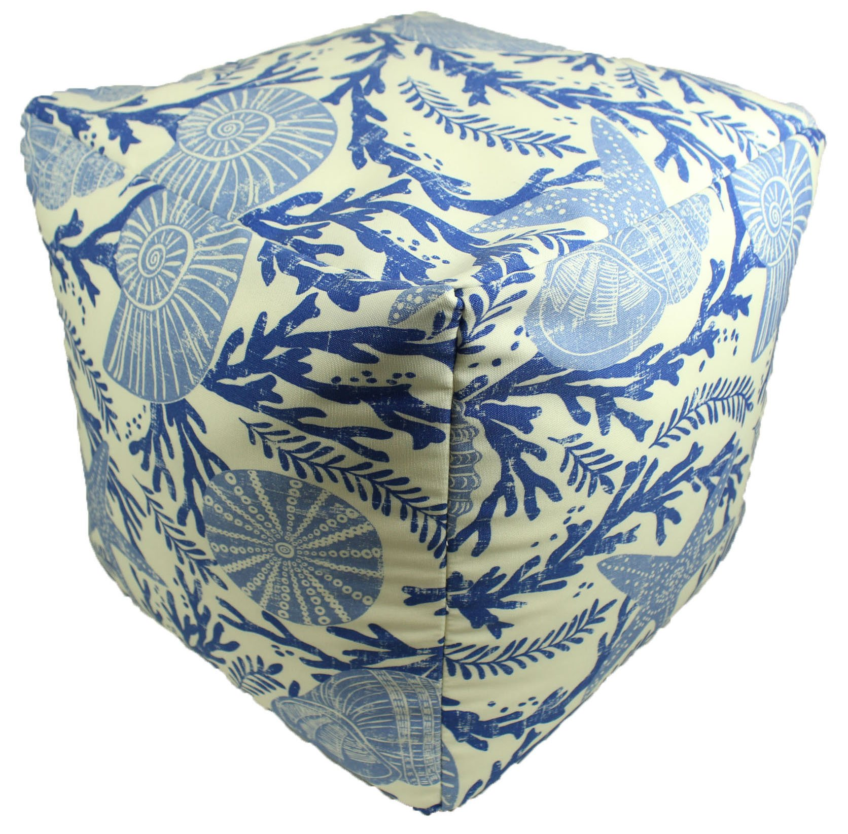Lava Polyester Ottomans 46874-999 Vintage Shells Pouf 17X17 Poufs/Outdoor Pouf 17 X 17 X 17 Inches Multicolored