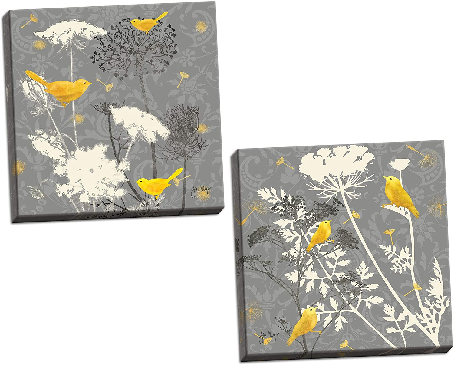 Gango Home Decor Gray Meadow Lace I Lovely Popular Grey and Yellow Finch Set; Two 16x16in Stretched Canvases; Ready to Hang!