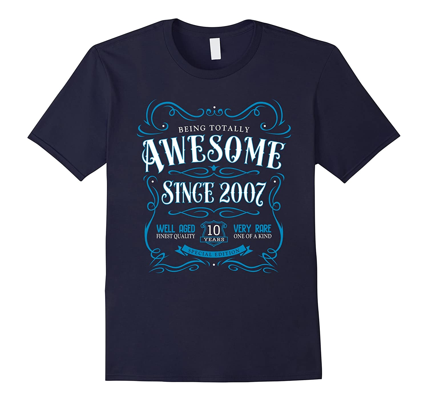 10th Birthday Gift T-Shirt Awesome Since 2007 Blue-CD