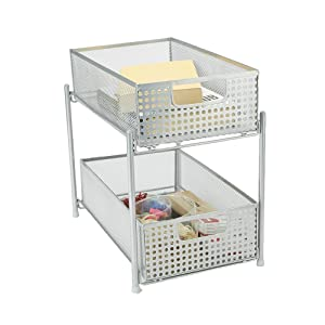 Mind Reader HCABASK2T-SIL 2 Tier Cabinet, Mesh Storage Baskets Organizer, Home, Office, Kitchen, Bathroom, Silver, One Size Heavy Duty