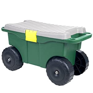 "Pure Garden 75-MJ2011 20"" Plastic Garden Storage Cart & Scooter"