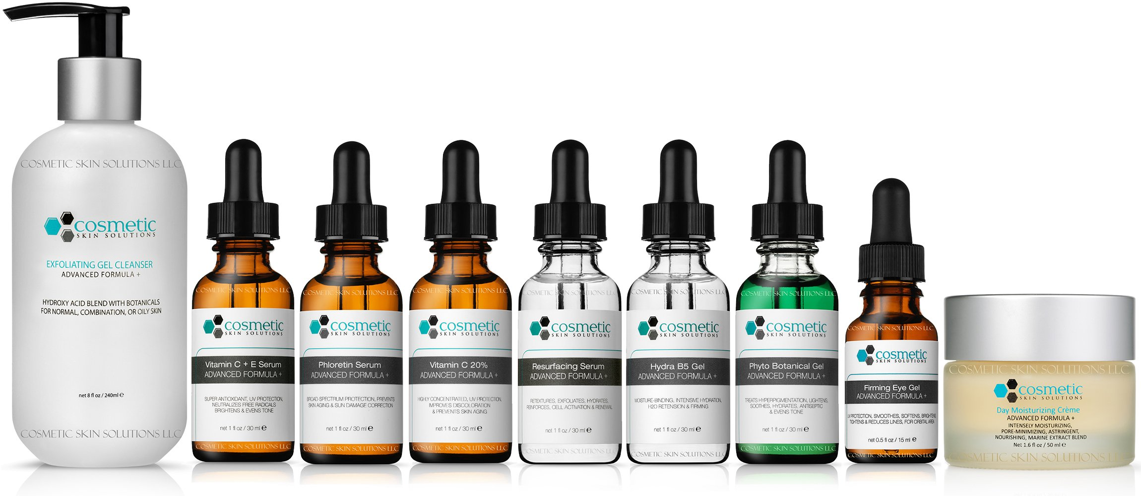 9 Combo Pack Includes EXCLUSIVE SET - Cleanser, Vitamin C+E, Phloretin, C 20%, Resurface, Phyto, B5, Eye, Moisturizer, Advanced Formula, ULTIMATE ANTI-AGING Topical Antioxidants