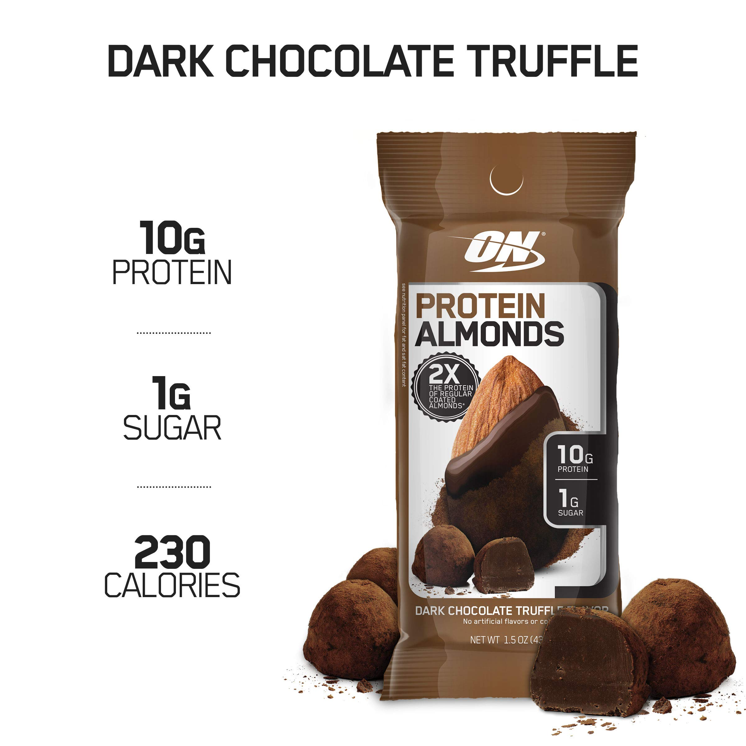 Optimum Nutrition Protein Almonds Snacks, On The Go Nutrition, Flavor: Dark Chocolate Truffle, Low Sugar, Made with Whey Protein Isolate, 12 Count by Optimum Nutrition
