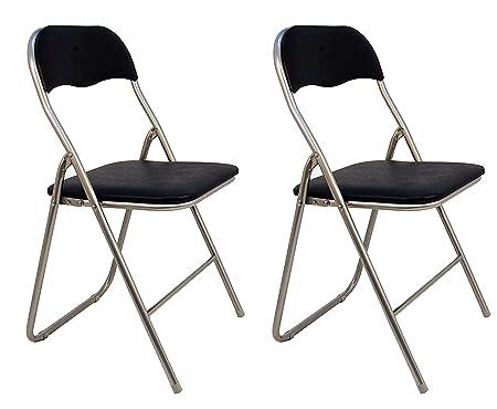 La sedia spagnola Sevilla Pack di sedie pieghevoli imbottite, Alluminio,  Nero, 46 x 43.5 x 78 cm, 2 pezzi