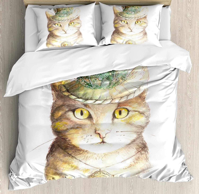 猫好きインテリア布団カバーセットby Ambesonne、Spiritual猫、帽子とオカルトEye CollarグランジケルトTrickテーマ、装飾寝具セットwithピロー、イエローグレー キング nev_21376_king B075LT4C8Kマルチ1 キング