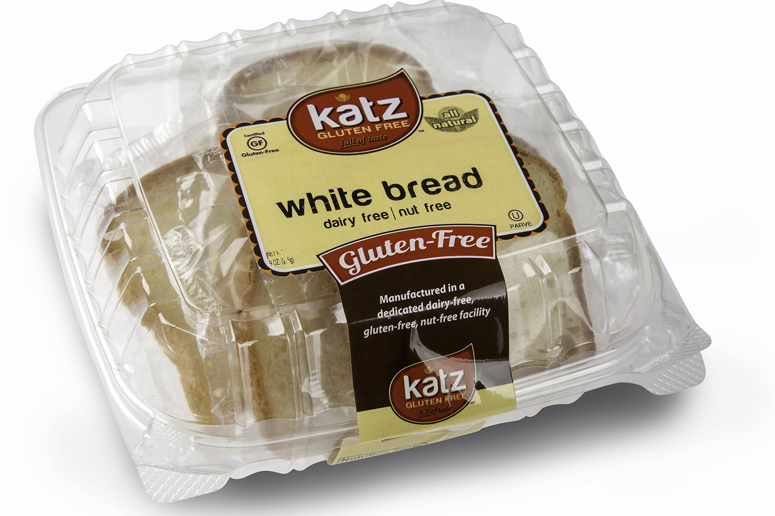 Katz Gluten Free Individually Wrapped GRAB 'N' GO White Bread, 9 Ounce, Certified Gluten Free - Kosher - Dairy Free & Nut free (Pack Of 6)