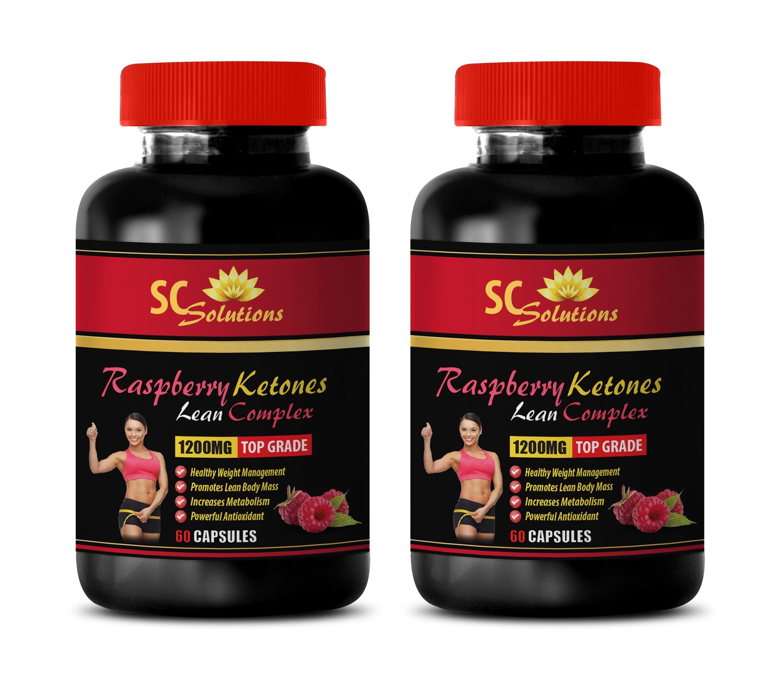Metabolism Booster Plus Energy for Weight Loss - Raspberry Ketones Lean Complex 1200MG - TOP Grade - Raspberry Ketone for Weight Loss - 2 Bottles (120 Capsules)