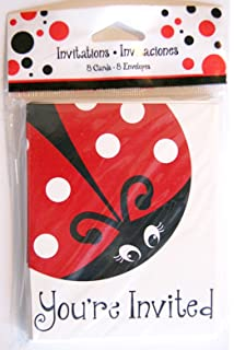 Amazoncom Ladybug Party Supplies Invitations Kitchen Dining