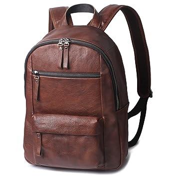 680af7034717 Image Unavailable. Image not available for. Color  Borgasets 15 quot   Premium Vintage Leather Backpacks for men   women Laptop Backpack Travel  Bag Small