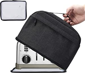 VOSDANS 4 Slice Toaster Cover with Removable Bottom 2-in-1 Toaster Bag with Pockets Toaster Storage Bag with Handle, Dust and Fingerprint Protection, Machine Washable, Black (Patent Design)