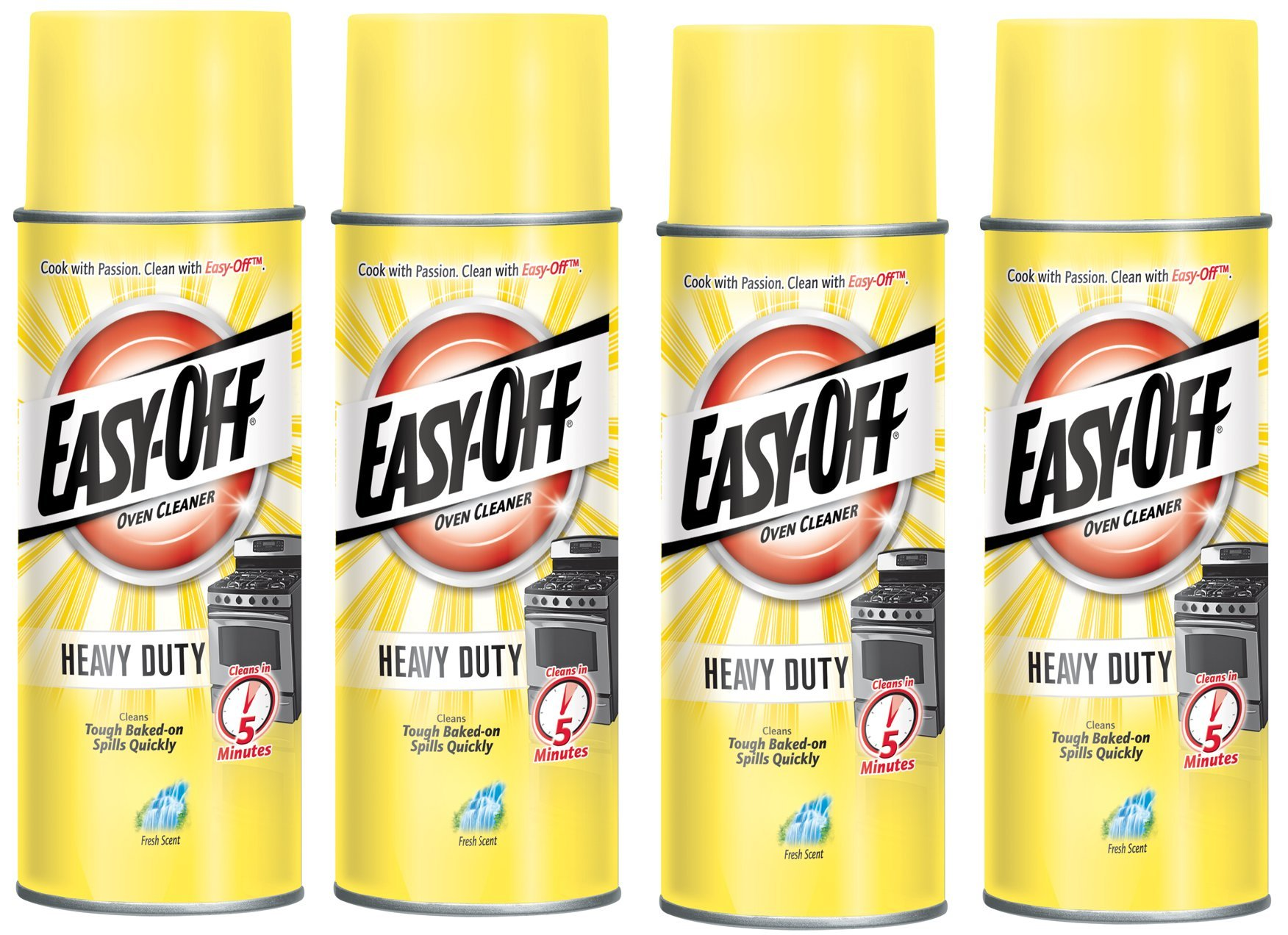 Easy-Off Heavy Duty Fresh Scent Oven Cleaner 14.5 oz (4 Pack) Made in USA by Easy Off