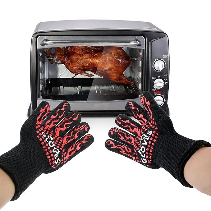 Guantes del horno, Wotek Guantes del horno Resistente al calor guantes de cocina para barbacoa mitones caliente Horno mejores aislantes Hot Pot mitones del ...