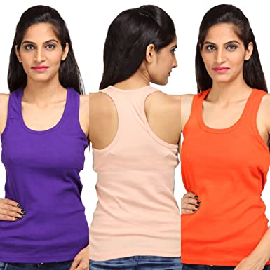 ec09ee7777 ALBATROZ Cotton T Back Ladies Plain Spaghetti Tank Top Vest Camisole Sando  for Women Combo of 3 Purple and Orange and Skin (Free Size)  Amazon.in   Clothing ...
