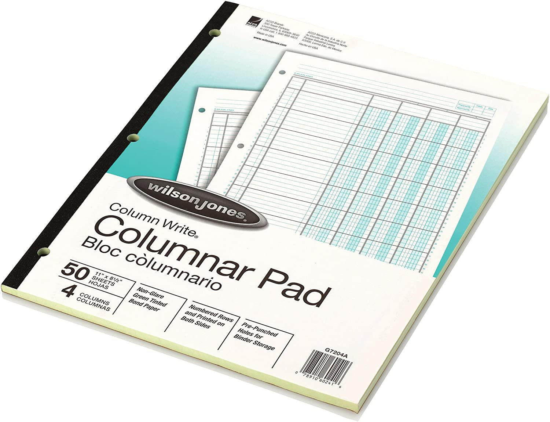 "Wilson Jones Columnar Pad, ColumnWrite, 8-1/2"" x 11"", 4 Columns, 50 Sheets per Pad (WG7204A)"