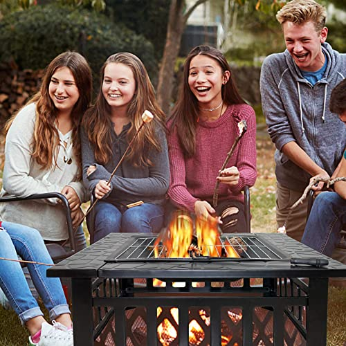 CISVIO 32in Fire Pit Outdoor BBQ Square Metal Table Patio Garden Stove Wood Burning Fireplace