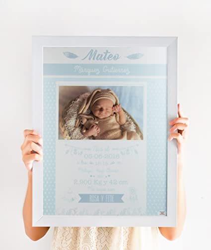 mami me mima - Lámina de Nacimiento Personalizada con Todos los Datos del Bebé y Fotografía (Azul)