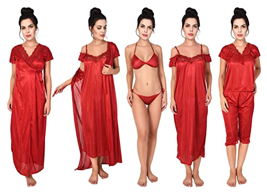 567c06d98a58 Freely Women's Honeymoon Satin Nighty Set - Pack of 6: Amazon.in ...
